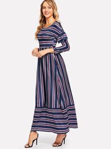 Striped Pocket Side Ruffle Trim Dress