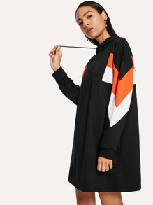 Drawstring Hoodie Colorblock Dress