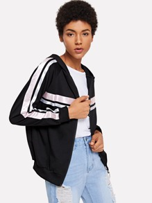 Contrast Tape Hooded Jacket