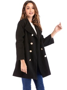 Double Breasted Solid Coat
