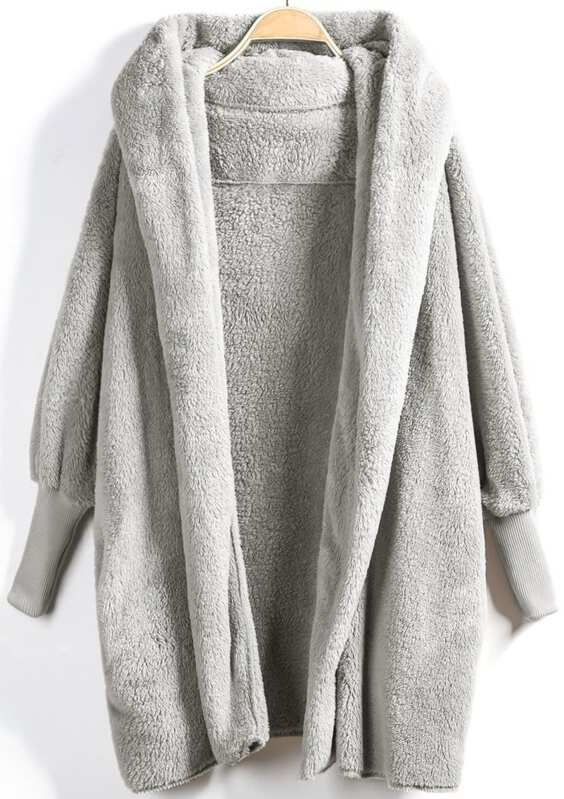 9f30f0b7effe Open Front Faux Fur Hooded Teddy Coat. AddThis Sharing Buttons