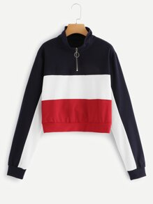 Zipper Front Color Block Sweatshirt