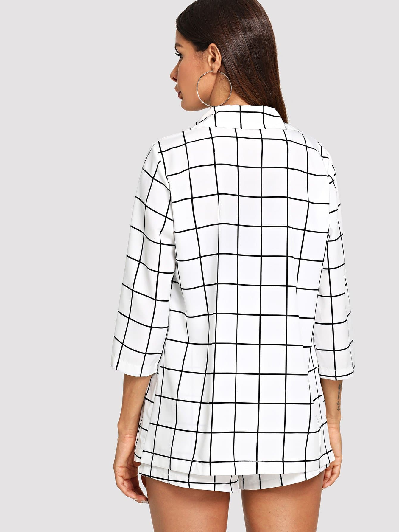 Sheinside Black And White Plaid Notched Blazers With Self Tie Waist Shorts Women Bademode Kleidung & Accessoires