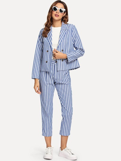 Striped Double Button Blazers With Pants