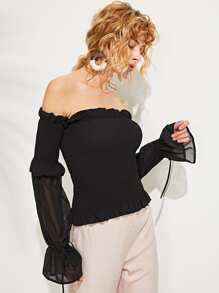 Lace Up Off Shoulder Solid Top