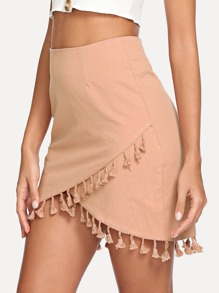 Wrap Tassel Detail Bodycon Skirt
