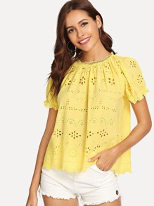 Puff Sleeve Eyelet Embroidered Top