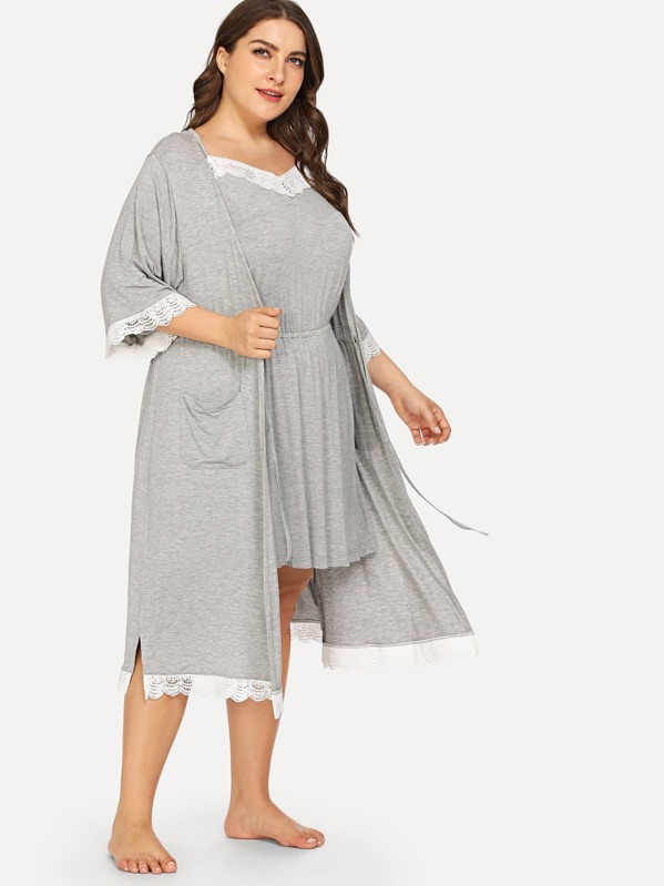 Plus Floral Lace Night Dress With Robe | SHEIN