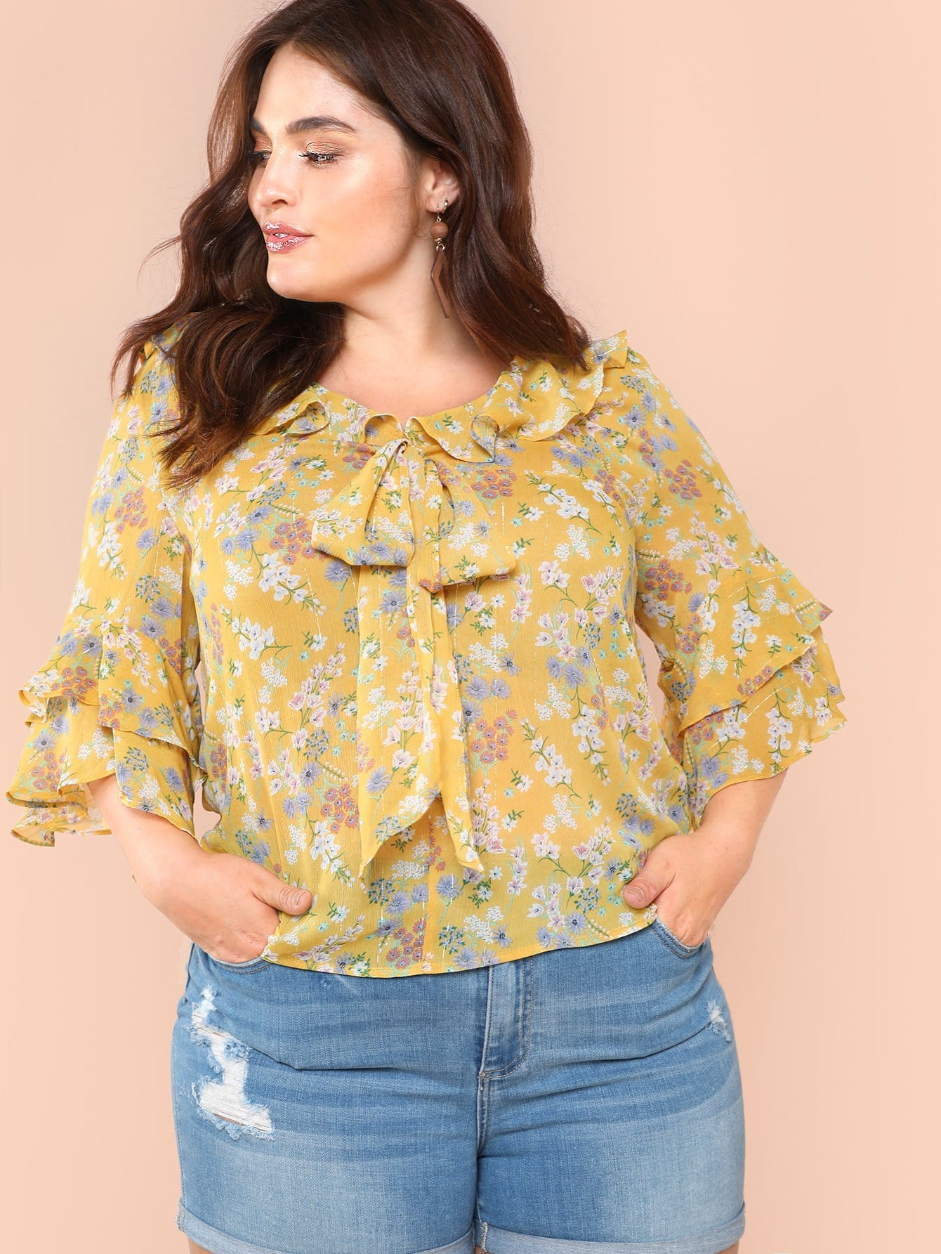 075063b160 Plus Tie Neck Layered Flounce Sleeve Floral Top | SHEIN