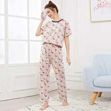 SHEIN | Flamingo Print Pajama Set | Goxip