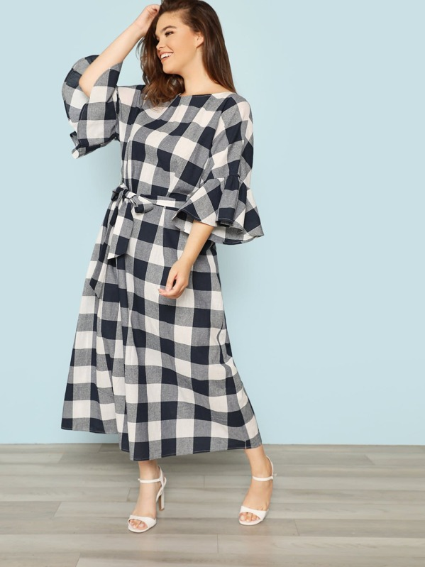Plus Exaggerated Flounce Sleeve Self Belted Plaid Dress