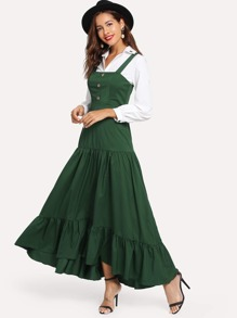 Button Front Tiered Pinafore Dress