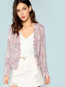 Frayed Trim Tweed Coat