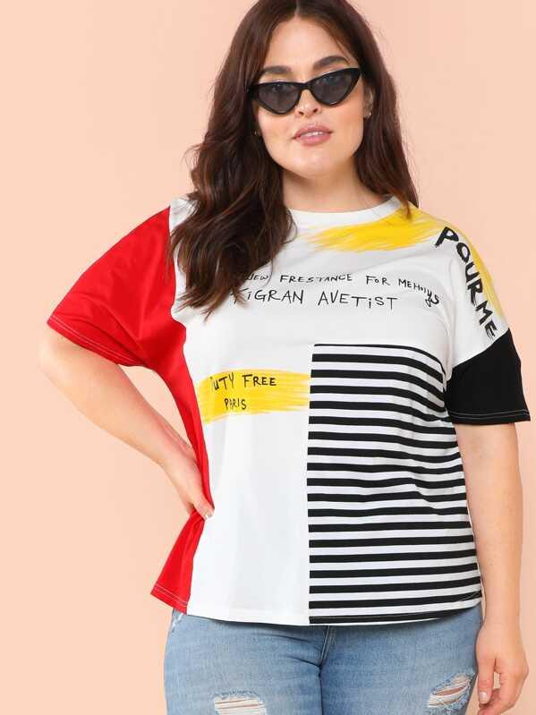 de color gran de Camiseta bloque estampado mixto de tamaño 35A4RLjq
