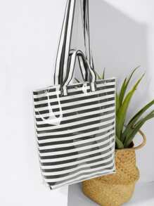 Striped Tote Bag With Handle