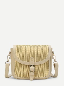 Buckle Decor PU Flap Crossbody Bag