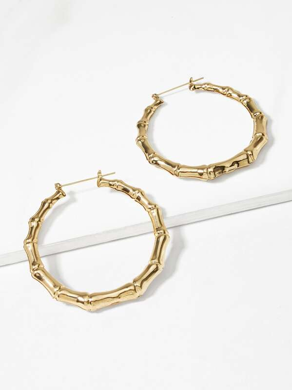cd6095410 Bamboo Design Hoop Earrings 1pair | SHEIN