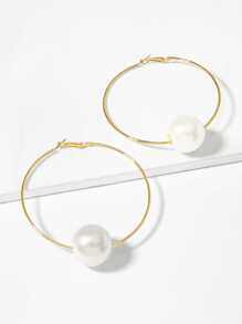 Faux Pearl Detail Oversize Hoop Earrings