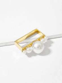 Faux Pearl Rectangle Shaped Ring