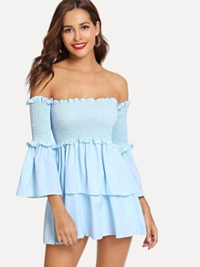 Off-Shoulder Pleated Flounce Sleeve Blouse