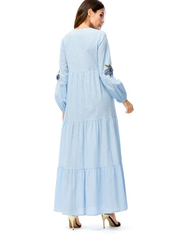 00353f416 الثوب أزهار نقوش حظ طويل فستان | شي إن