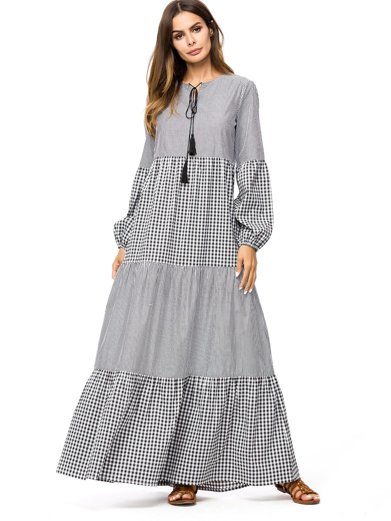 ee0095d0b8 Plaid Contrast Striped Longline Dress -SheIn(Sheinside)