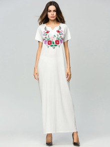 Flower Embroidered Longline Dress