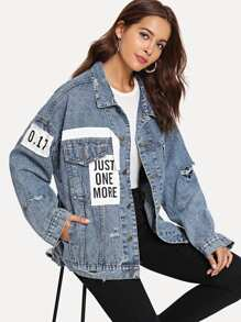 Patched Ripped Denim Jacket