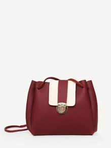 Push Lock Detail Flap Bag