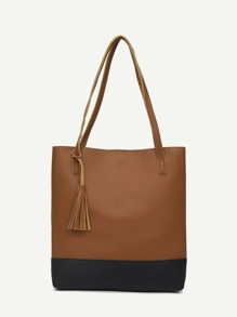 Tassel Decor Two Tone Shopper Bag