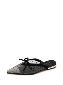 Polka Dot Bow Detail Mules
