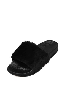 Open Toe Fluffy Slippers