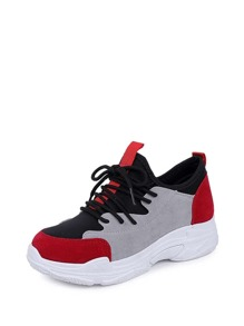 Color Block Suede Sneakers