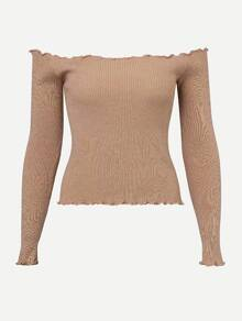 Bardot Lettuce Trim Ribbed Jumper