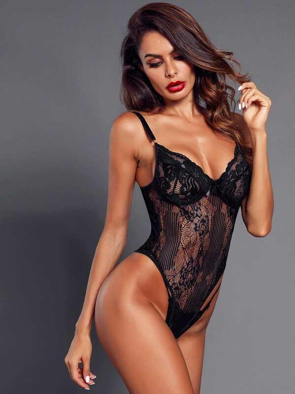 593938d383c Floral Lace Teddy Bodysuit