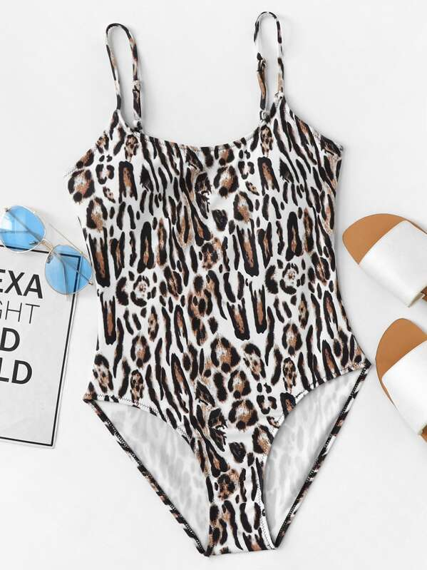 85d3cf5689 Leopard Pattern One Piece Cami Swimsuit | SHEIN