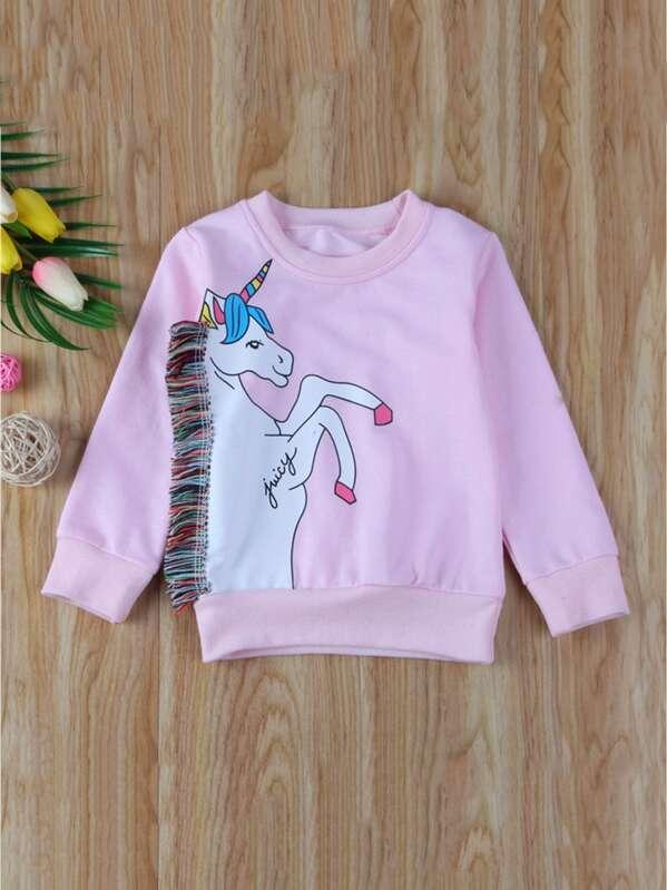 9a3103183 Toddler Girls Unicorn Print Fringe Detail Sweatshirt