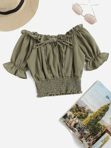 Flounce Sleeve Frill Trim Smocked Blouse