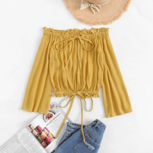 Tie Detail Frill Trim Solid Blouse