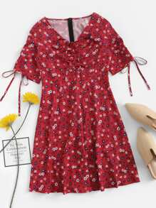 Drawstring Detail Floral Dress