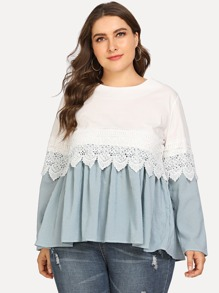 Plus Ruffle Hem Striped Top