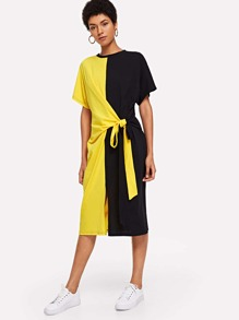 Knot Front Colorblock Dress