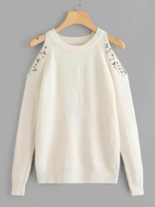 Cold Shoulder Beaded Sweater