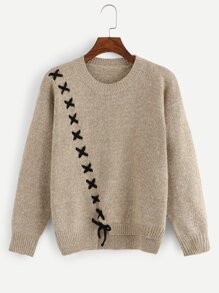 Lace-Up Asymmetrical Sweaters