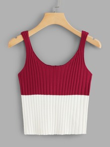 Colorblock Ribbed Cami Top
