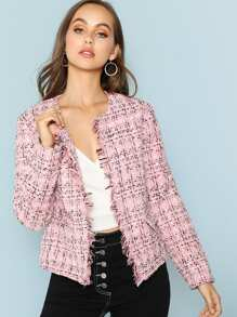 Frayed Edge Plaid Tweed Blazer