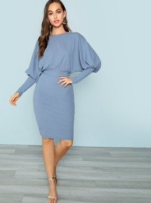Gigot Sleeve Ribbed Blouson Dress