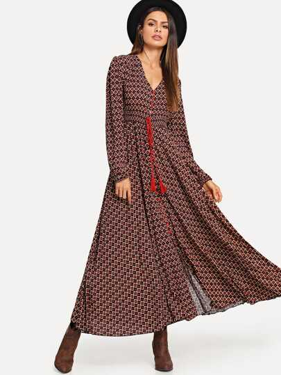 Half Button Tassel Tie Maxi Geo Dress