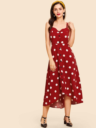 Thick Strap Buttoned Polka Dot Dress