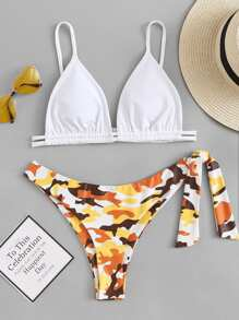 Drawstring Detail Top Wirh Knot Side Camo Bikini Set